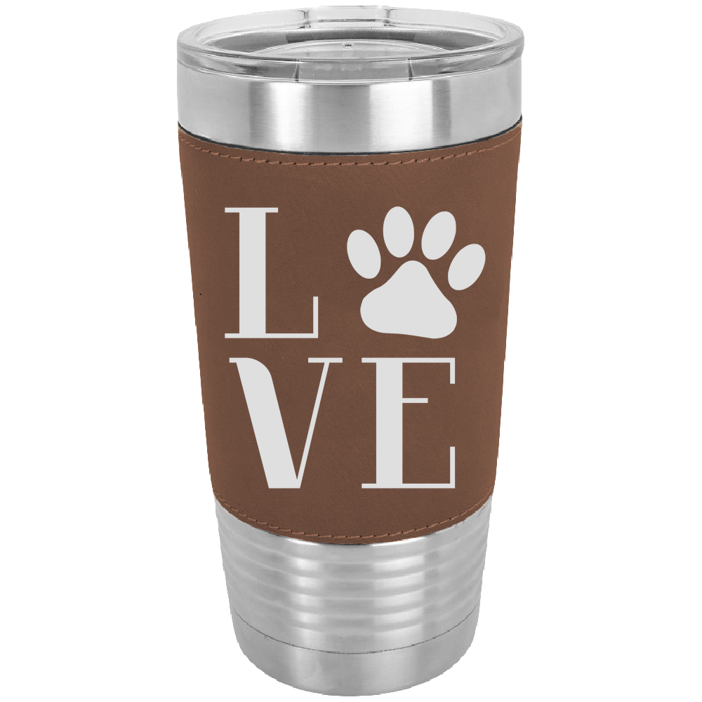 Love Pets - 20 oz. Laserable Leatherette Polar Camel Tumbler - fit most standard cup holders.