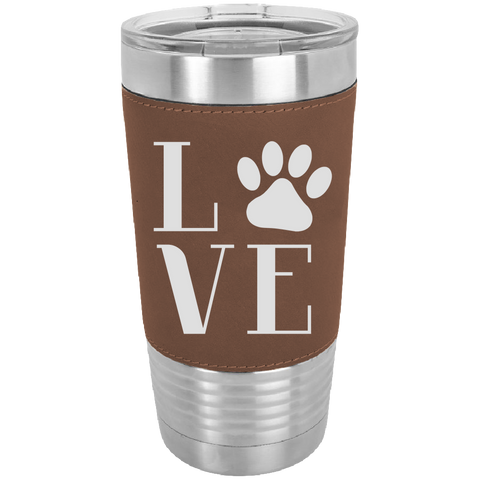 Image of Love Pets - 20 oz. Laserable Leatherette Polar Camel Tumbler - fit most standard cup holders.