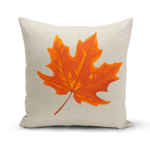 Image of Orange Maple Leaf Pillow Cover