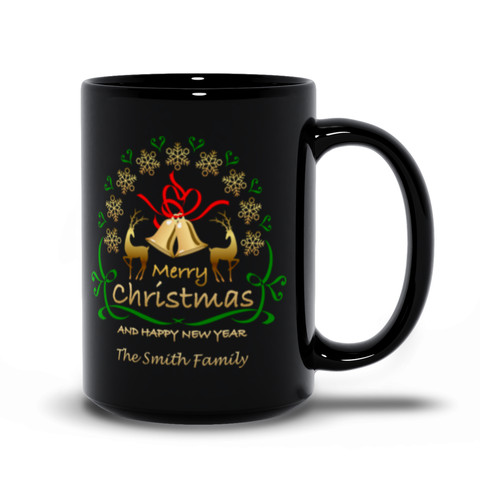 Christmas and Happy New Year Black Mugs - Personalize it!