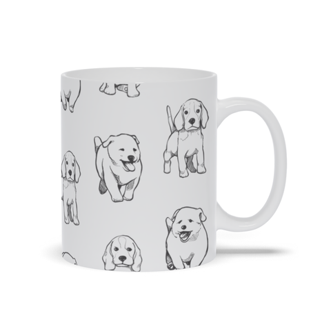 Image of Mug with Different Puppy Breed Pattern