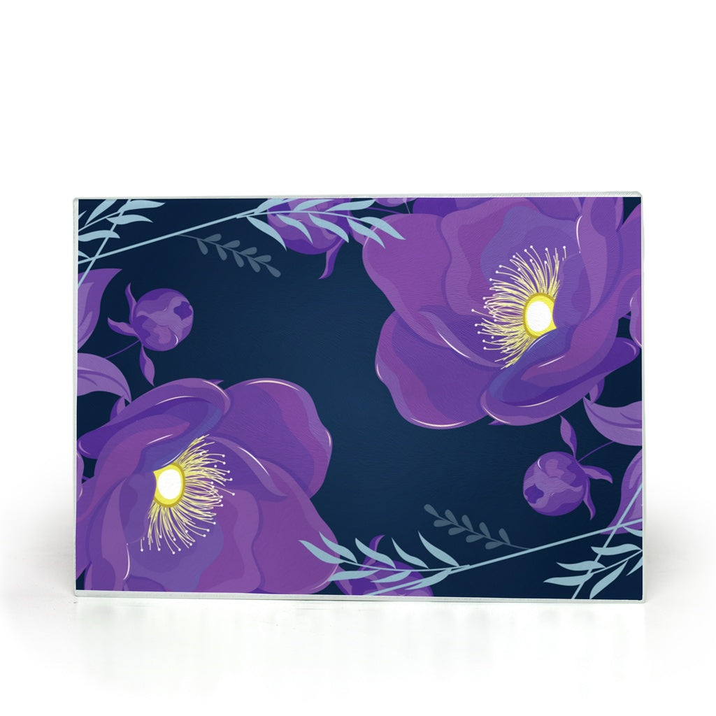 Glass Cutting Board with Purple Flower Design