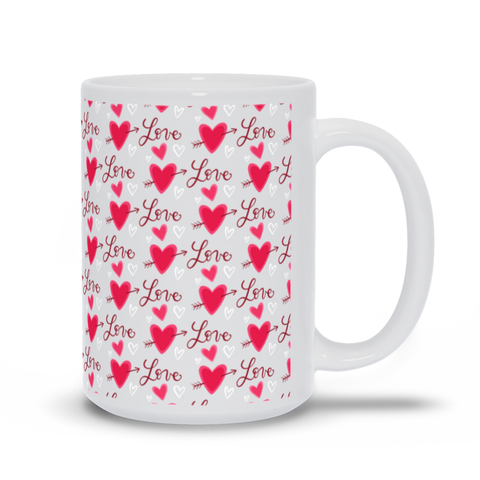 Image of Mug with Hearts and LOVE Pattern