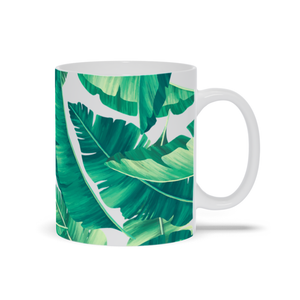 Mug with Tropical Leaves Design