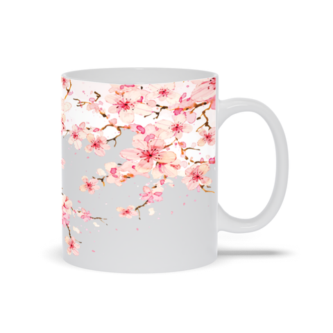 Mug with Watercolor Cherry Blossom Design
