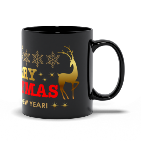 Marry Chrsitmas mug Black Mugs