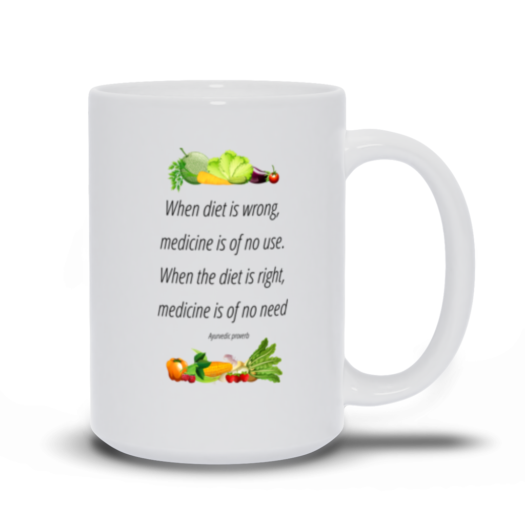 When diet us wrong, medicine is of no use, - Mugs