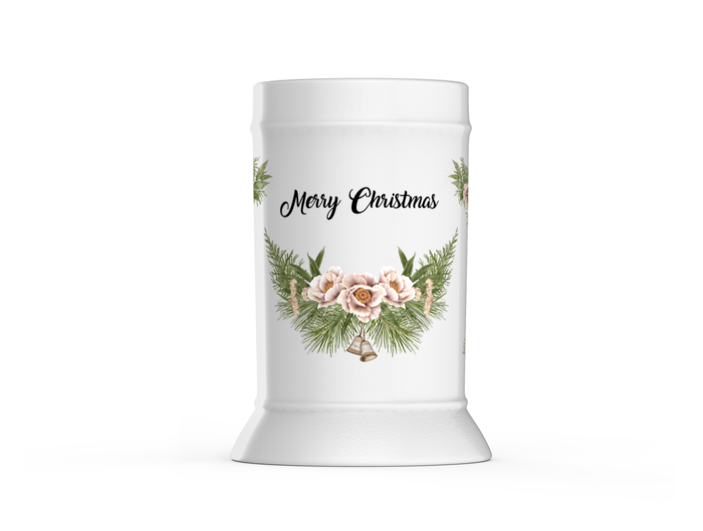 Merry Christmas Beer Stein with Wraths, Flowers and Bells