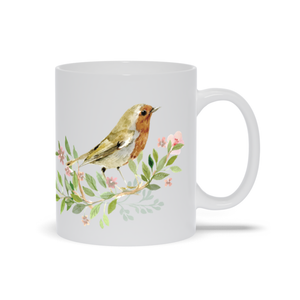Mug with Hand Painted Bird and Flowers
