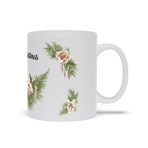 Image of Merry Christmas Mug with Wrath, Flowers and Bells