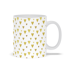 Mug with Gold Hearts Design