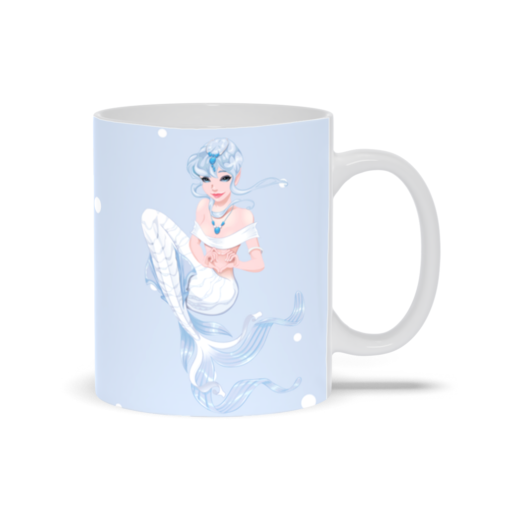 White and Blue Mermaid Mug