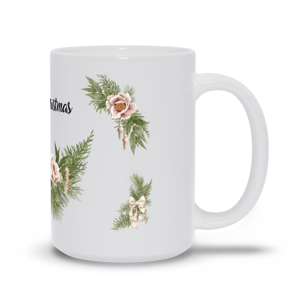 Merry Christmas Mug with Wrath, Flowers and Bells