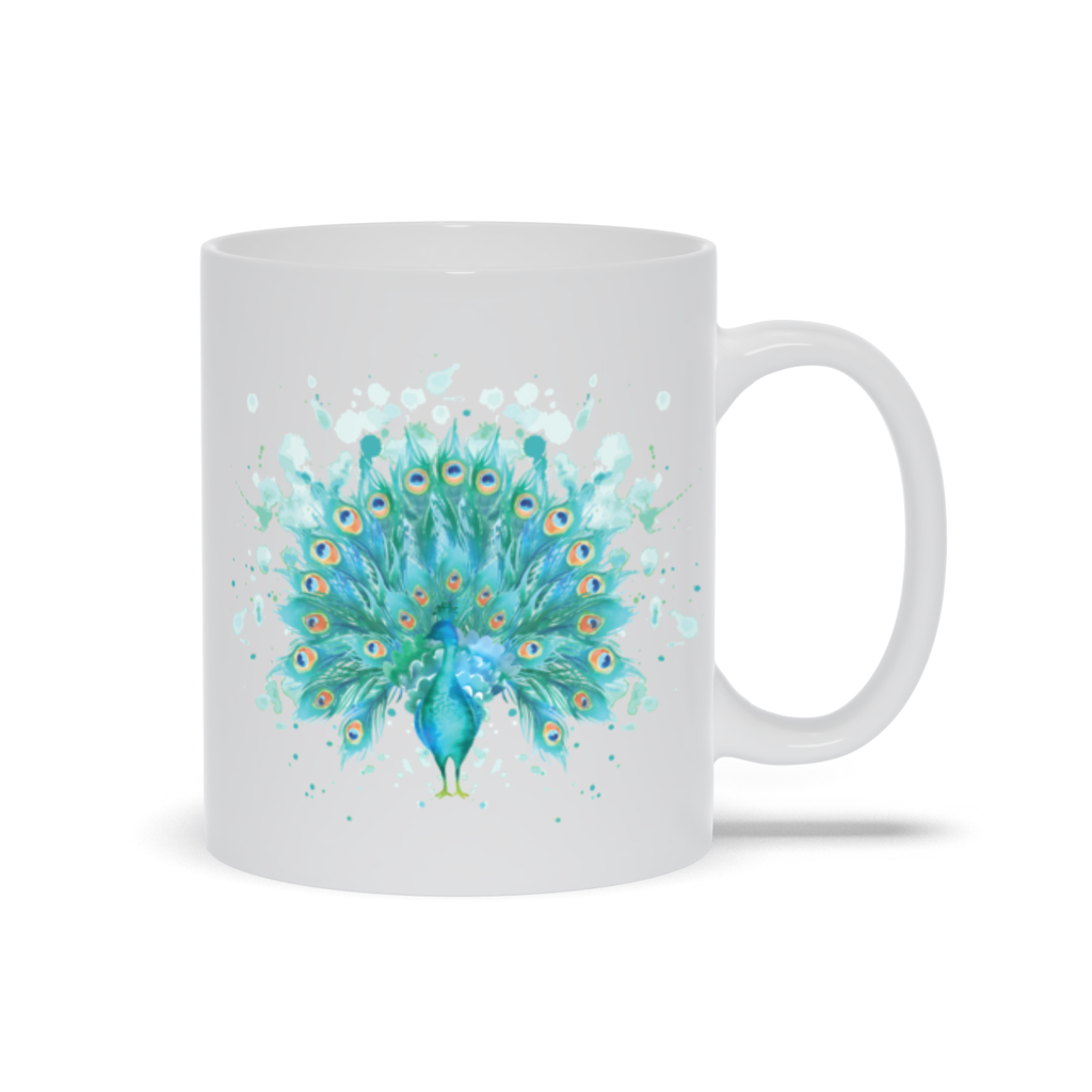 Mug with Watercolor Peacock Design