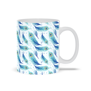 Mug with Peacock Feather Pattern