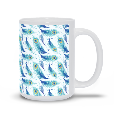Image of Mug with Peacock Feather Pattern