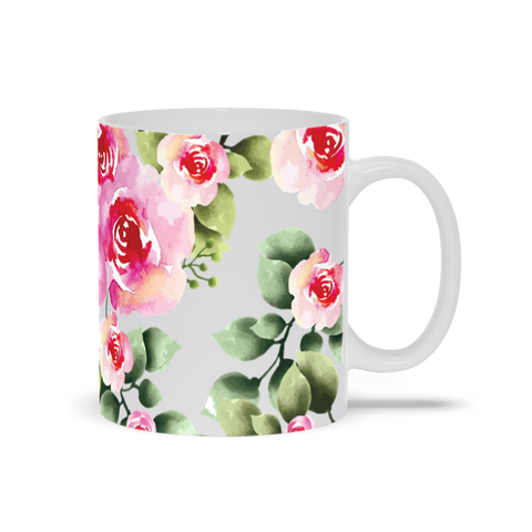 Mug with Watercolor Flower Design