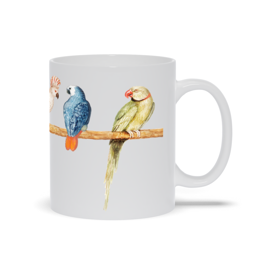 Mug with Colorful Parrot Design