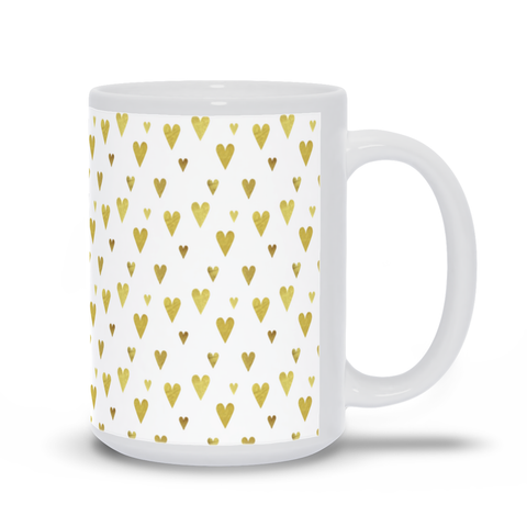 Image of Mug with Gold Hearts Design