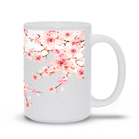 Image of Mug with Watercolor Cherry Blossom Design