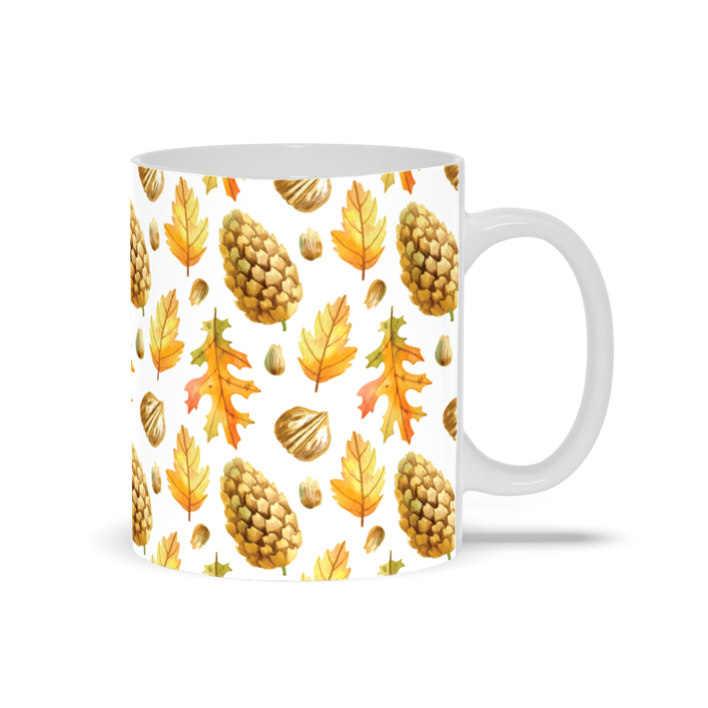 Pine cones and Dried Leaves- Autumn Inspired Mug