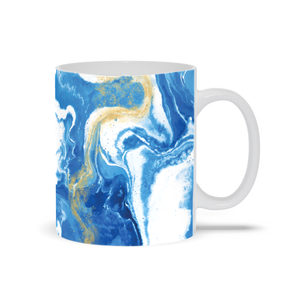 Mug with Blue and Gold Marble Print
