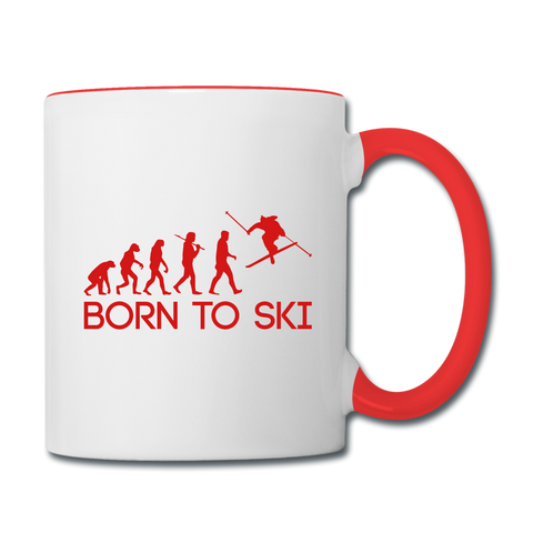 Born to Ski Coffee Mug - white/red