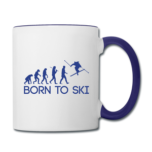 Born to Ski Coffee Mug - white/cobalt blue
