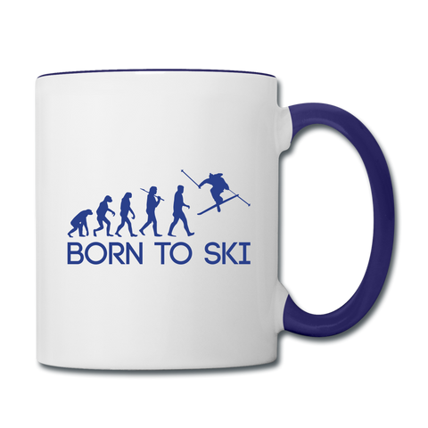 Image of Born to Ski Coffee Mug - white/cobalt blue