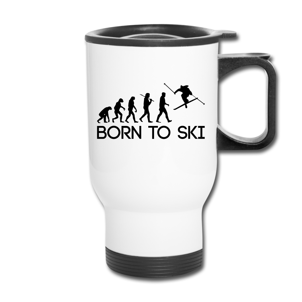 Born to Ski Travel Mug - white