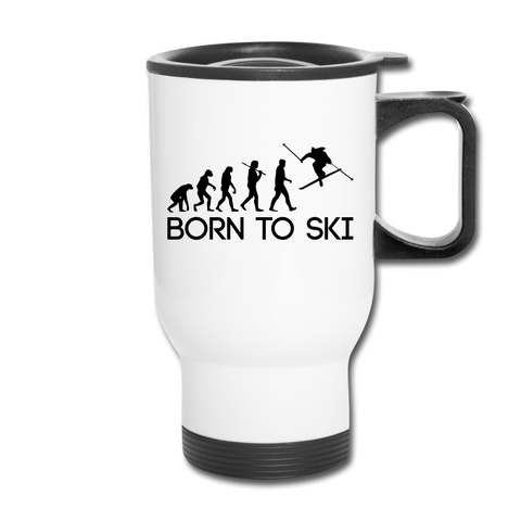 Image of Born to Ski Travel Mug - white
