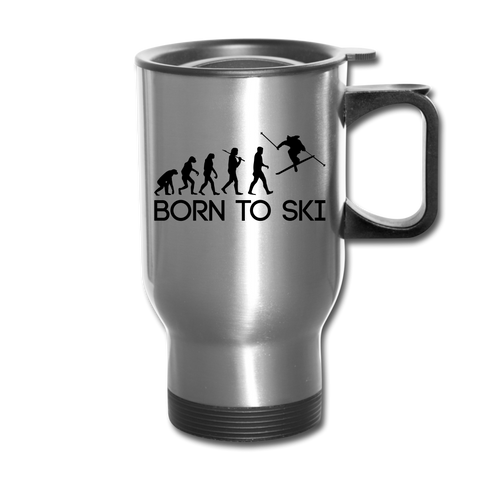 Born to Ski Travel Mug - silver