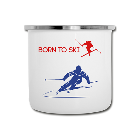 Image of Born to Ski Camper Mug - white