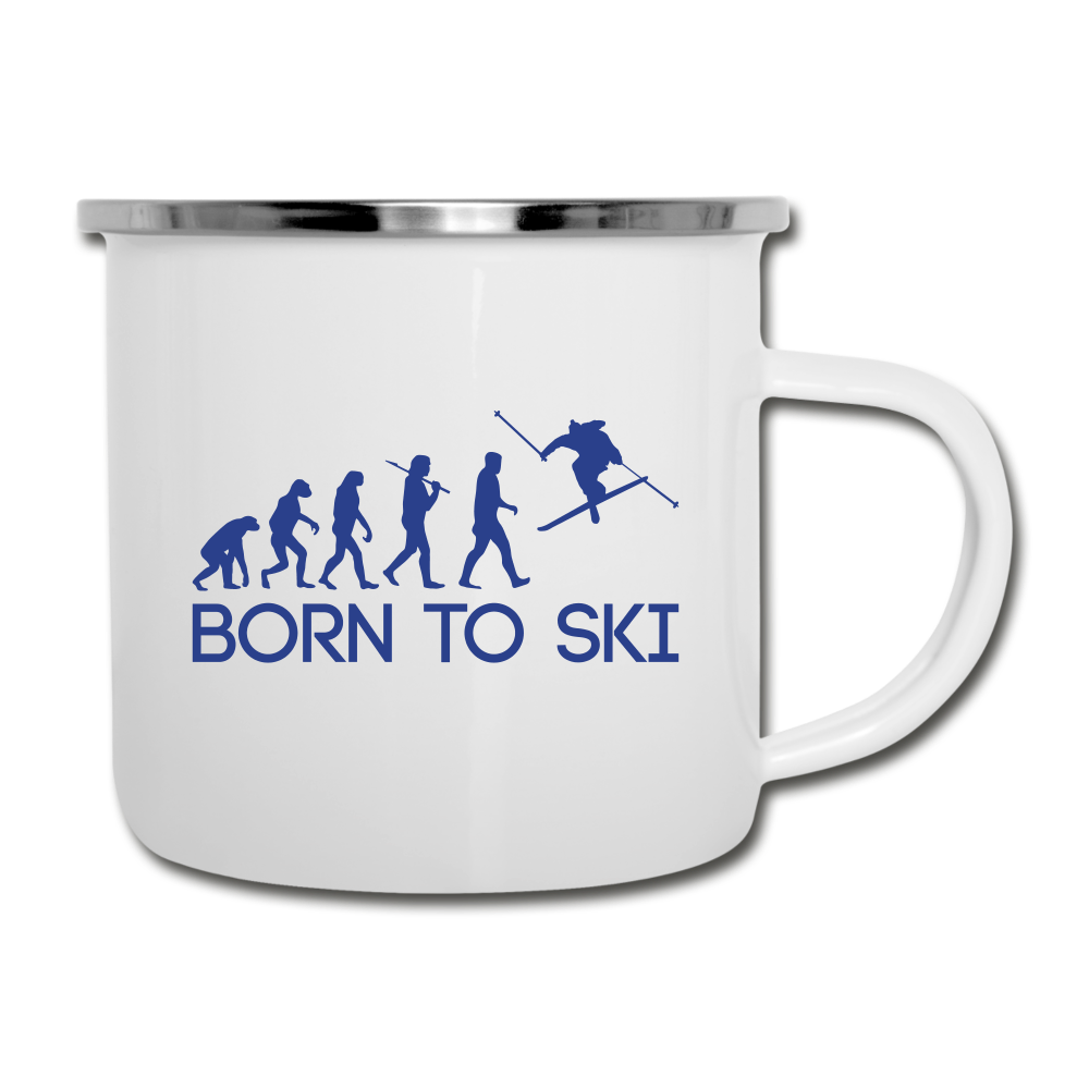 Born to Ski Camper Mug - white
