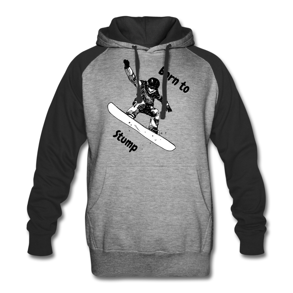 Born to Snowboard Colorblock Hoodie - heather gray/black