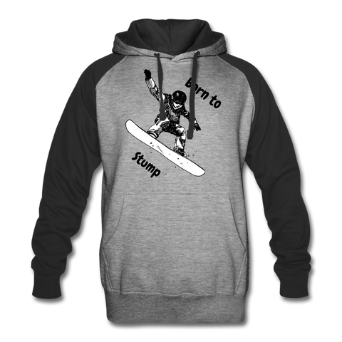 Image of Born to Snowboard Colorblock Hoodie - heather gray/black