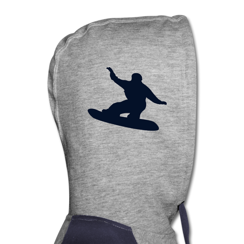 Born to Snowboard Colorblock Hoodie - heather gray/navy