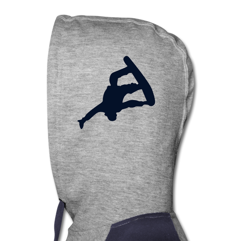 Image of Born to Snowboard Colorblock Hoodie - heather gray/navy