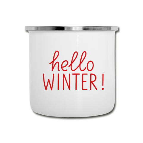Hello winter camper mug - white