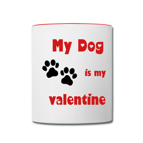 Image of My Dog Is My Valentine - Contrast Coffee Mug - white/red
