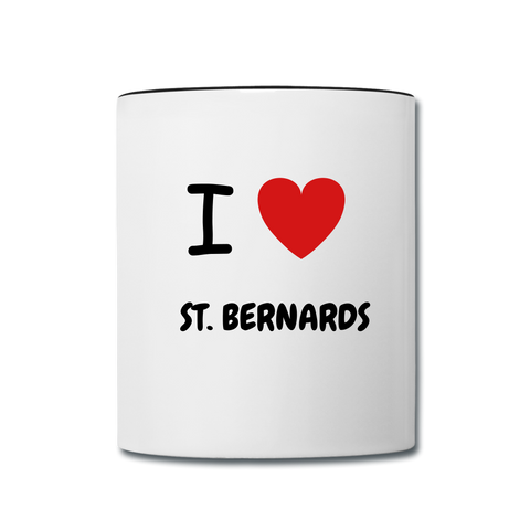 Image of I love St. Bernards Contrast Coffee Mug - white/black
