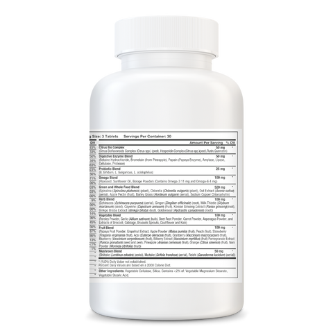 Whole Food Multivitamin - With Blends of Herbs, Vegetables, Fruits and Mushrooms Plus More