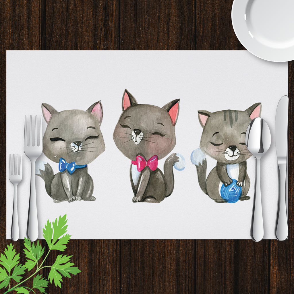 Placemat with Watercolor Kittens for Cat Lovers