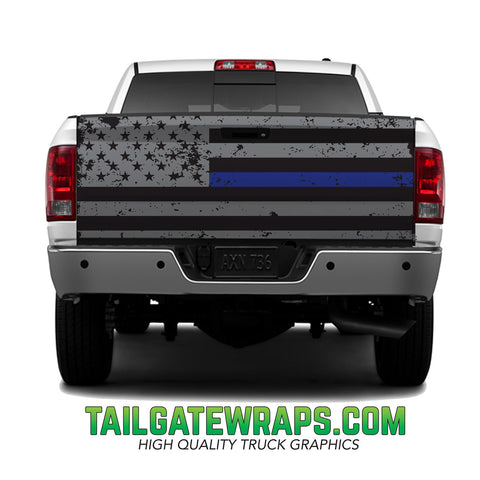 Thin Blue Line Grunge Flag Tailgate Wrap