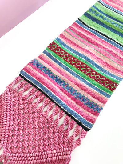 Serape Throw Woven/Macrame Table Runner