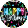 Neon Happy Birthday Balloon 18""