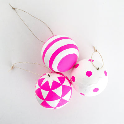 Pink and White Patterned Ornament