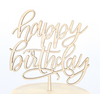 Happy Birthday cursive Wooden Caketopper