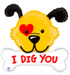 "40"" ""I Dig You"" Dog and Bone Mylar Balloon"