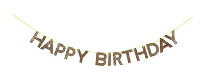 Gold Glitter Happy Birthday Garland